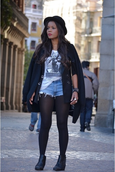black D&G blazer - black H&M hat - sky blue Pepe Jeans shorts