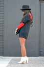 White-zara-boots-red-asos-dress-black-h-m-hat