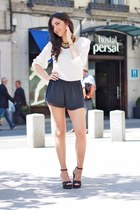 cream Topshop blouse - black BERSKA shorts