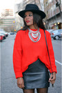 Red-united-colors-of-benetton-sweater-black-zara-skirt