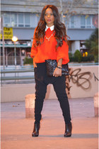 black Zara boots - red united colors of benetton sweater - black Uterque pants