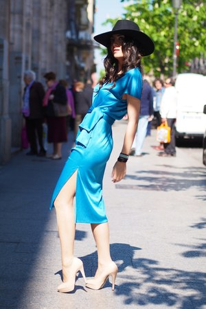 sky blue vintage dress - peach Topshop shoes - black H&amp;M hat
