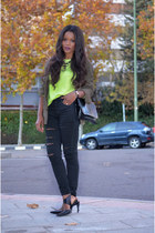 black Mango pants - olive green Sfera cardigan