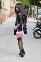 black Mustang boots - black Zara Kid dress - black Zara jacket