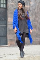 black Bershka sweater - black Chanel bag - blue Bershka skirt