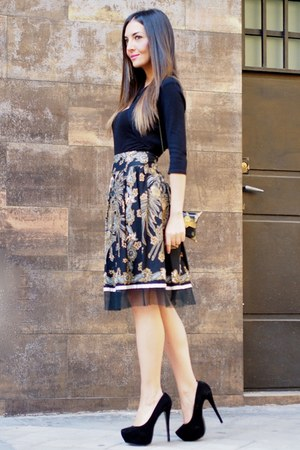 gold paco casado skirt - black fama shoes - black Mango blouse