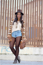 bronze vintage cardigan - sky blue Pepe Jeans shorts
