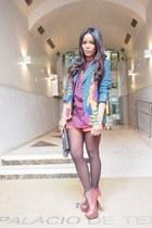 teal vintage blazer - bronze Mari Paz boots - coral Trucco shorts