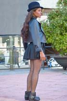 navy Zara hat - silver Zara jacket - blue Mulaya shirt - black DIY skirt