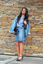 sky blue Stradivarius skirt - sky blue Pepe Jeans jacket