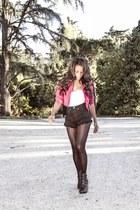 vintage jacket - grau boots - mendoza shorts - Womensecret intimate