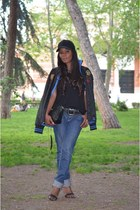 blue La Martina jacket - black H&M hair accessory