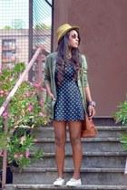 olive green Zara blazer - black Sisley dress - bronze Primark bag