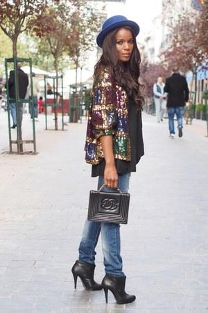 vintage jacket - Zara boots - Zara jeans - H&M hat - Chanel bag - Zara blouse