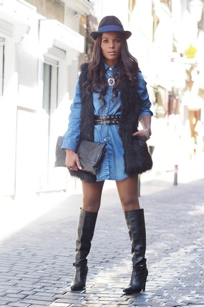 black Mango vest - black Zara boots - sky blue Zara dress - black pull&bear hat