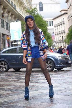 navy Chanel jacket - navy Mari Paz boots - navy H&M hat - sky blue Naf Naf shirt