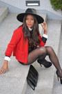 Black-fama-shoes-black-h-m-hat-red-cortefiel-jacket