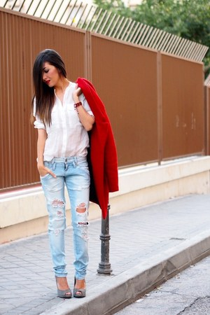 red Zara coat - sky blue Zara jeans