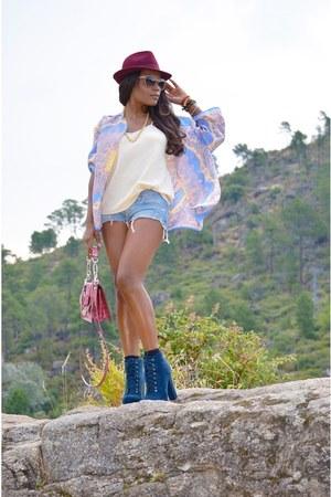 sky blue Mulaya cardigan - amethyst Zara shorts