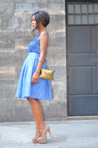 sky blue DIY skirt - nude fama shoes - vintage bag
