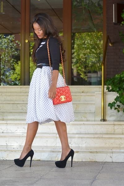 white DIY skirt - red Chanel bag - black Zara t-shirt