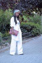 ruby red DIY bag - white Zara pants