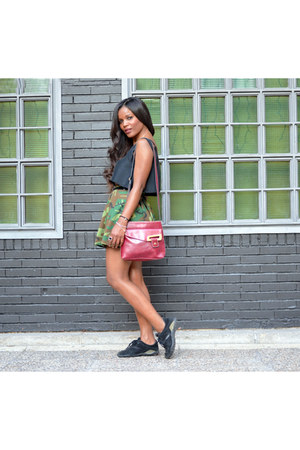 black DIY top - olive green DIY skirt - Geox sneakers