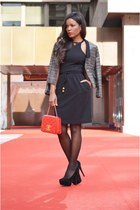 black Mango dress - heather gray pull&bear jacket - red Chanel bag