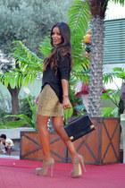 gold DIY skirt - black Zara sweater