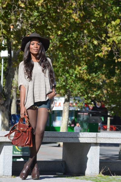 dark brown H&M hat - crimson fama shoes - beige Mango sweater