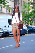 brown Gucci hair accessory - dark brown Hermes bag - olive green Zara shorts