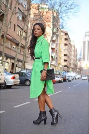 green vintage shirt - black Chanel boots