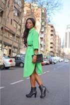 green vintage shirt - black Chanel boots