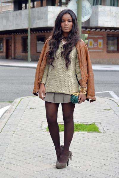 bronze Massimo Dutti jacket - dark khaki suiteblanco sweater