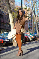 bronze fama shoes - ivory bdba coat - light brown Topshop sweater