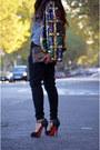 Forest-green-vintage-jacket-black-uterque-pants