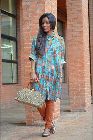 tawny H&M leggings - turquoise blue vintage shirt - ivory H&M t-shirt
