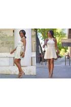 neutral DIY skirt - bronze vintage bag - off white el corte ingles top