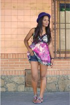 blue H&M hat - amethyst Mulaya dress - magenta Emmanuel vivien sandals