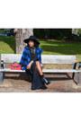 Black-zara-boots-black-h-m-hat-blue-topshop-jacket-red-primark-bag
