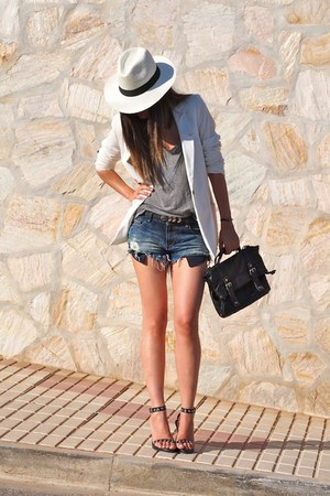 white Zara blazer - sky blue Zara shorts - black Zara sandals