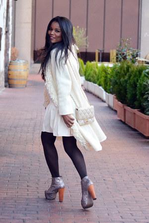 bronze Jeffrey Campbell boots - cream Chanel bag