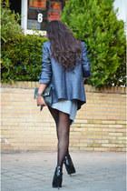 black Zara boots - sky blue Zara blazer