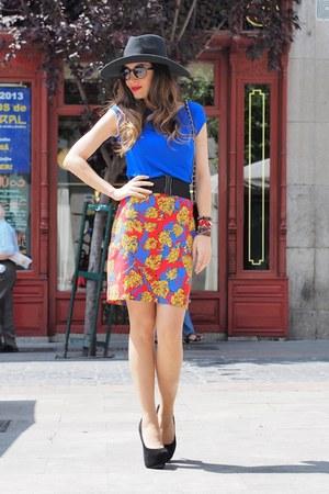 hot pink Topshop skirt - black H&M hat - blue Zara top