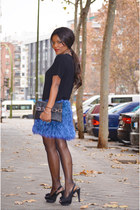 black fama shoes - black Zara sweater - blue DIY cape