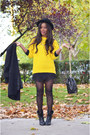 Black-fama-boots-black-h-m-hat-yellow-united-colors-of-benetton-sweater