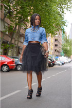 black vintage skirt - sky blue DIY shirt