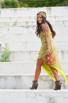 tawny Primark bag - olive green grau boots - lime green AQUENDE dress