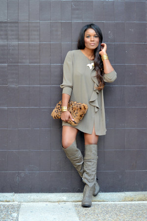 light brown XTY boots - light brown DORSAY dress