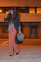 black Zara blazer - heather gray Zara Man t-shirt - red gabbiani pants